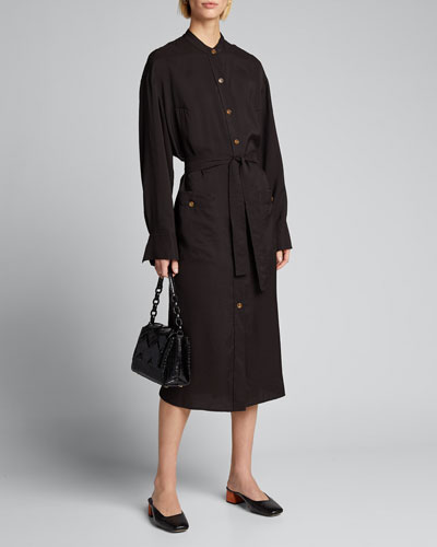 Belted Button-Down Midi Dress