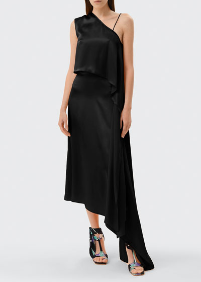 One-Shoulder Silk Cocktail Dress w/ Waist Tie