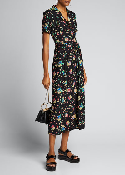 Long Maria Printed Button-Down Pajama Dress w/ Belt