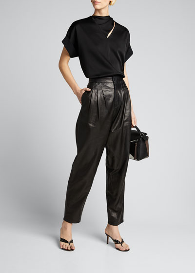 Nila Leather Pleated Trousers