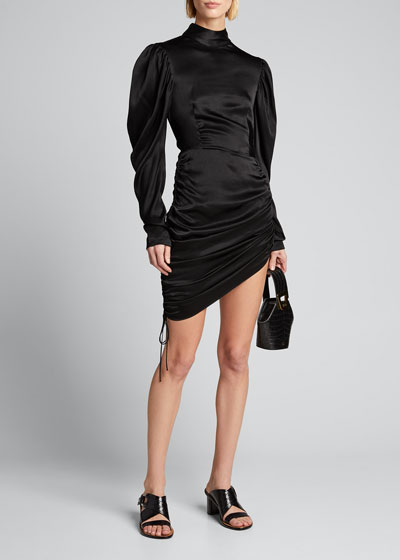 Satin Draped Mini Dress