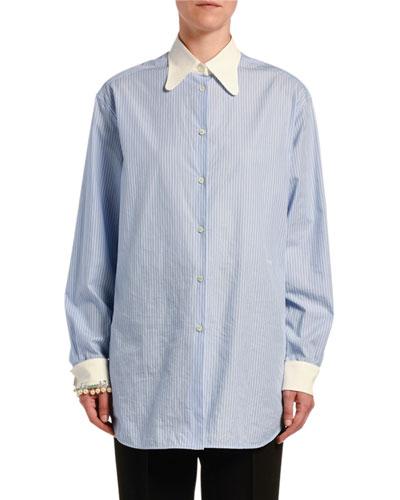 Striped Button-Down Shirt w/ Embellished Cuffs