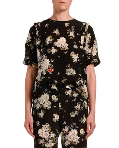 Floral-Print Crewneck Blouse
