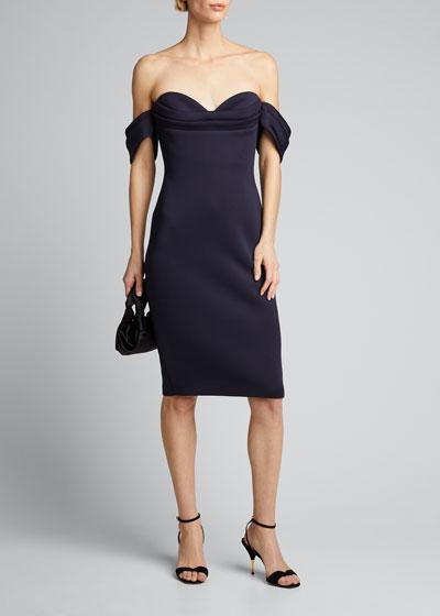 Off-the-Shoulder Pleated Bustier Scuba Dress