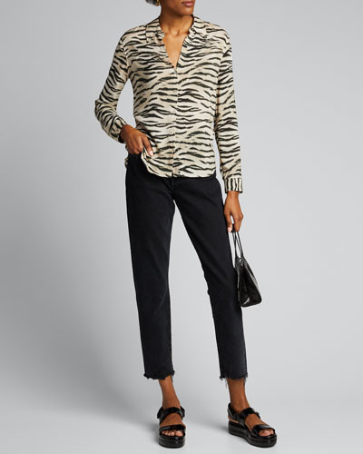 Holly Animal-Print Long-Sleeve Blouse