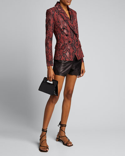 Kenzie Python-Print Double Breasted Blazer