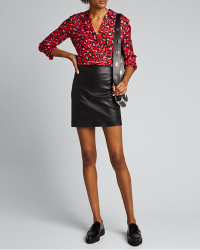 Nina Animal-Print Long-Sleeve Silk Blouse