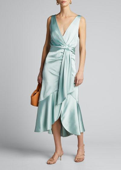 Mia Fluid Satin Midi Dress