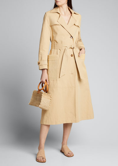 Alex Belted Trench Coat with Woven Panels