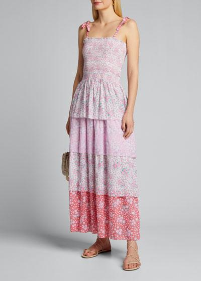 Caressa Smocked Floral Maxi Dress