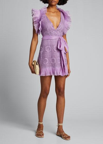 Brynn Deep V Lace Mini Dress