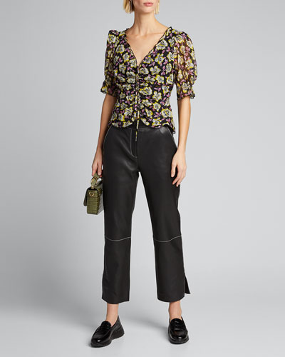 Kimberly Ruched Floral-Print Top