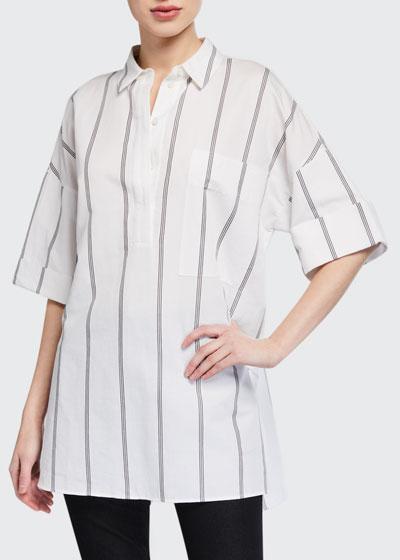 Abrams Marbella Stripe 1/2-Sleeve Blouse