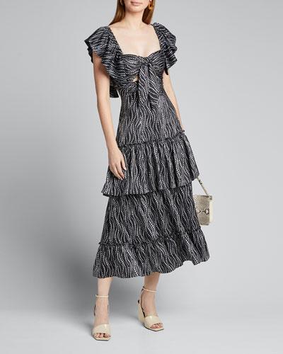 Valerie Flutter-Sleeve Tiered Ruffle Dress