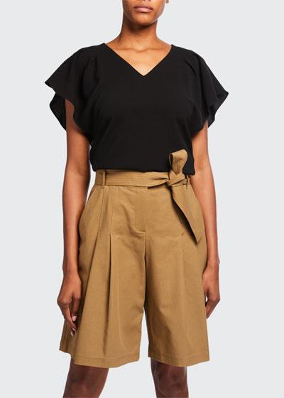 Elisha V-Neck Short-Sleeve Finesse Crepe Blouse