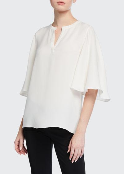Barker Flutter-Sleeve Silk Double Georgette Blouse