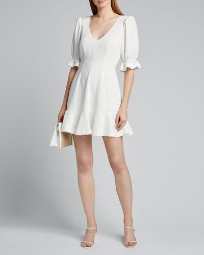 Riley V-Neck Elbow-Sleeve Mini Flounce Dress