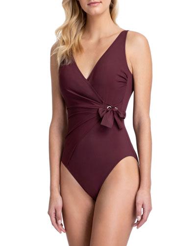 Vogue Tie-Front Surplice One-Piece Swimsuit