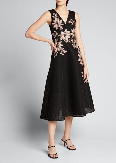 Floral Embroidered V-Neck Sleeveless Tulle Dress