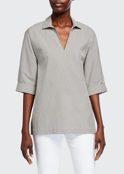 Nicole Sorrentine Stripe 1/2-Sleeve Blouse
