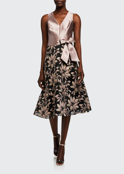 V-Neck Sleeveless Two-Tone Jacquard Dress