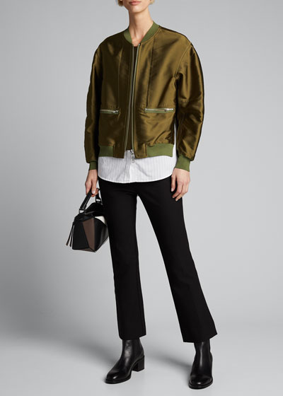 Ribbed-Trim Satin Bomber Jacket