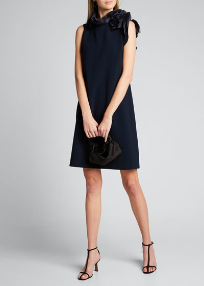 Organza-Neck Sheath Dress