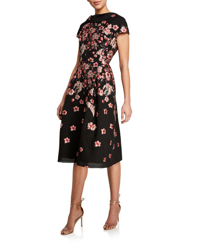 Cap-Sleeve Floral Brocade A-Line Dress