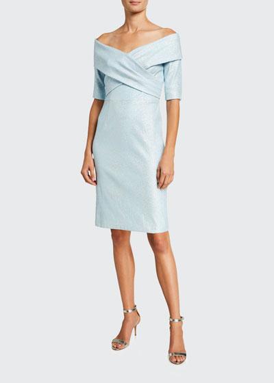 Metallic Off-the-Shoulder Cross-Front Dress