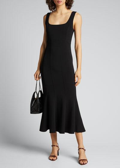 Gloria Square-Neck Flared Dress