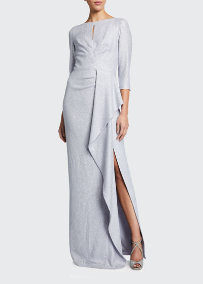 Metallic 3/4-Sleeve Cascading Ruffle Side Draped Gown