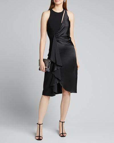 Clemency Drape-Front Satin Combo Dress