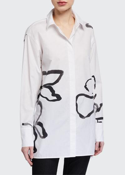 Kehlani Large Vine Print Button-Down Cotton Poplin Blouse