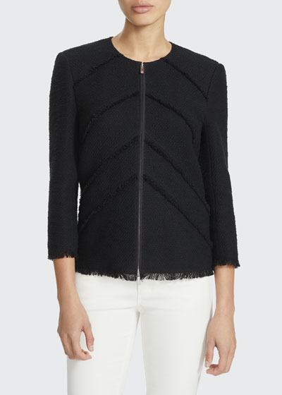 Reynolds Zip-Front Burano Boucle Weave Jacket