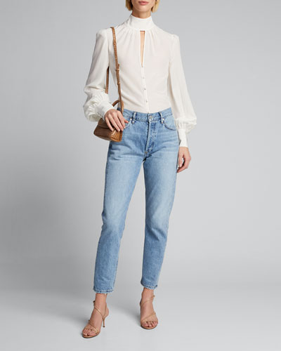 Ellie Mock-Neck Button-Down Top