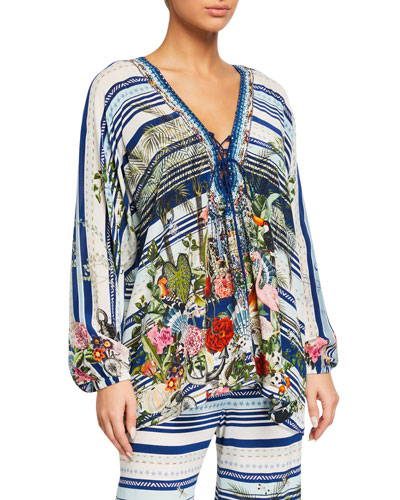 Printed Lace-Up Silk Blouse