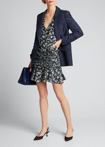 Sean Ruched Floral-Print Dress