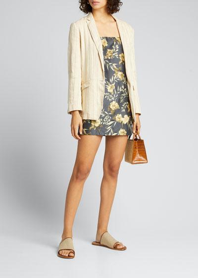 Pinstriped Cotton Linen Jacket