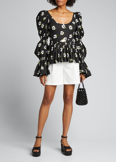 Raine Belted Puff-Sleeve Top