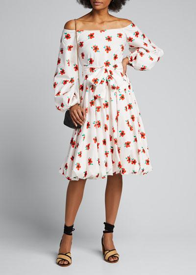 Bea Off-Shoulder Floral Long-Sleeve Dress