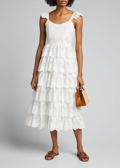Dia Scalloped Lace Tiered Dress