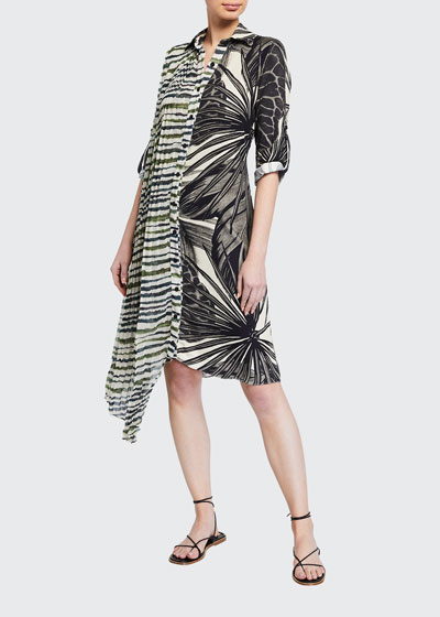 Mixed-Print Asymmetric Coverup Dress