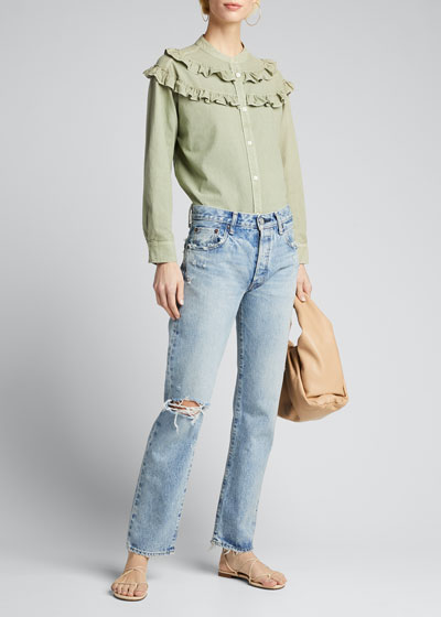 Hesperia Distressed Straight-Leg Jeans