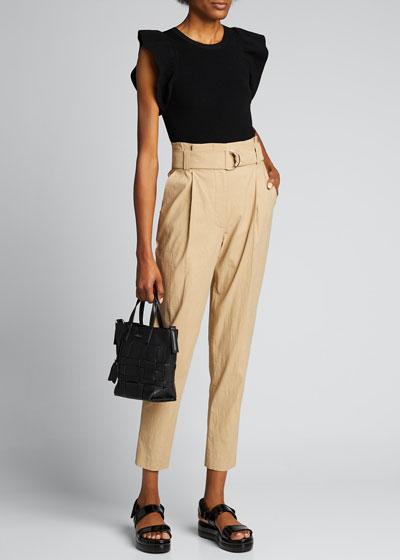 Diego High-Waist Belted Linen-Stretch Pants