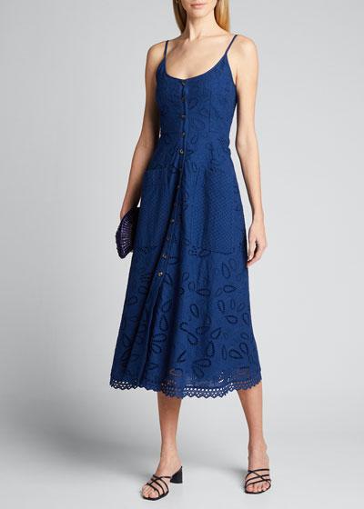 Fara Cotton Eyelet Midi Dress