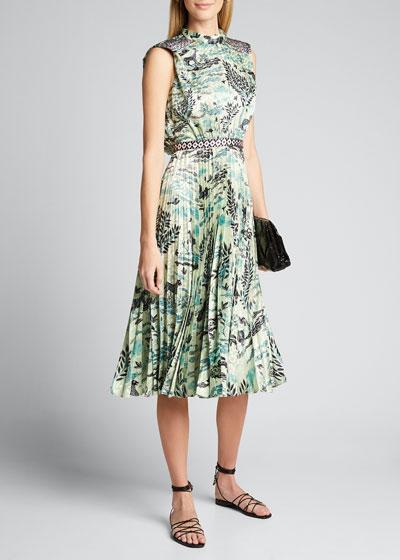 Fleur Pleated Satin Sleeveless Midi Dress