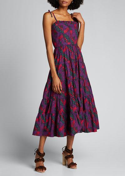 Ellyn Printed Tiered Midi Dress