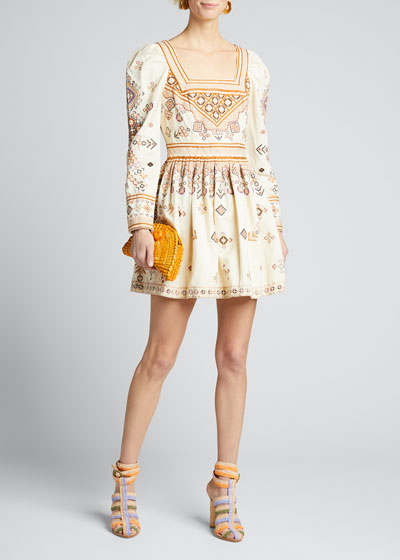 Adilah Embroidered Long-Sleeve Dress