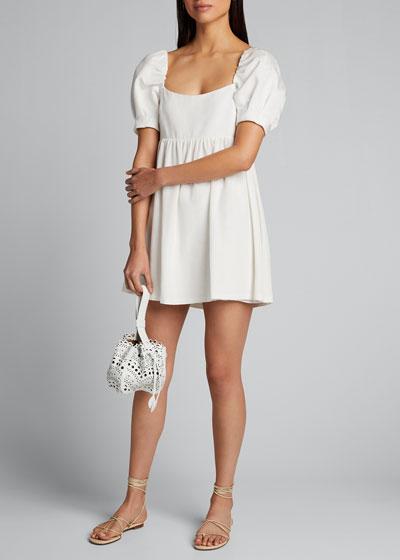 Bauery Puff-Sleeve Babydoll Dress