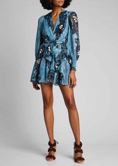 Noemi Printed Metallic Wrap Dress